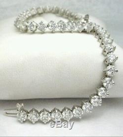 8.00 CT Round-Cut Diamond 14K White Gold Over Women's tennis Bracelet 8 inch