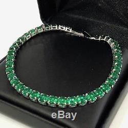 8.00 Ct Round Green Emerald Tennis Bracelet Women Jewelry 14K White Gold Over 7