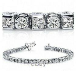 8.00 ct Round & Princess Cut Diamond 14k Gold Over Tennis 7 Bracelet, Bezel Set