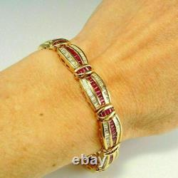 8.0 Ct Baguette Red Ruby & Diamond 7.5Tennis Wide Bracelet 14K Yellow Gold Over