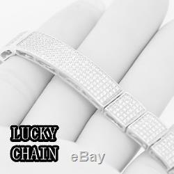8.5925 STERLING SILVER ICED OUT LAB DIAMOND BRACELET 39g BP3