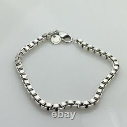 8.5 Large Tiffany & Co Mens Unisex Sterling Silver Venetian Box Link Bracelet