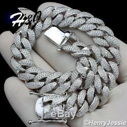 8.5men 925 Sterling Silver 12mm Icy Diamond Bling Miami Cuban Chain Bracelet12