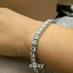 8 Carat Round Cut Diamond Link Tennis Ladies Bracelet 14K White Gold Over 7.25