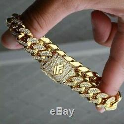8 Ct Round Cut Diamond 14K Yellow Gold Finish Mens Bracelet