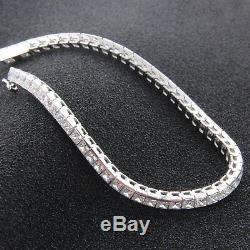 925 Silver 3.50ct Princess Cut Diamond Tennis Bracelet 14k White Gold Finish