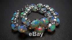 925 Solid Sterling Silver Bracelet Natural Gemstone Ethiopian Opal Bl 7.30 Inch