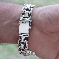 925 Solid Sterling Silver Men Heavy Wide Chain Cuban Bracelet Size 20 cm 8 79g