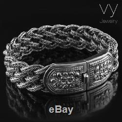 925 Solid Sterling Silver Men Wide Heavy Braided Bracelet Size 7 7.5 8 8.5 9 10