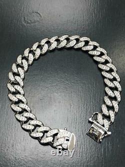 925 Sterling SILVER MEN'S CUBIN CZ CURB BRACELET CHAIN 12MM 46GR HEAVY BRAND NEW