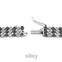 925 Sterling Silver 2Ct Black And White Diamonds Three Row Tennis Bracelet