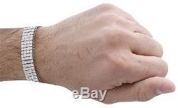 925 Sterling Silver 4 Row Prong Set Diamond Bracelet 8.50 12.50mm 2.50 CT