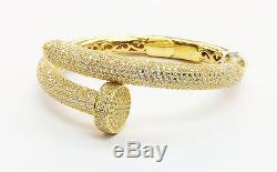 925 Sterling Silver LARGE ICED OUT Hammer & Nail DESIGN Bangle Cuff Bracelet