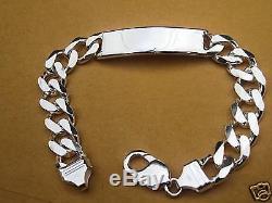 925 Sterling Silver Men Women Cuban Link ID Bracelet Sz 7-9 Free Ship