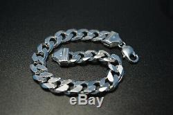 925 Sterling Silver Men's Cuban Curb Link Chain 8.5 Fine Bracelet Jewelry 60 Gr