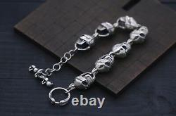 925 Sterling Silver Mens Heavy Angry Skull Cuff Bracelet 20cm