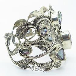 925 Sterling Silver Mystic Topaz Gem Wide Heavy Floral Leaf Cuff Bracelet 6.5