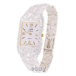 925 Sterling Silver Nugget Link Bracelet Geneve Watch 7.5-8 47 grams