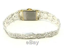 925 Sterling Silver Nugget Link Graduated Bracelet Geneve Wrist Watch 7-7.25