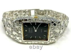 925 Sterling Silver Nugget Link Watch Bracelet Geneve with Diamond 7-7.5 44g