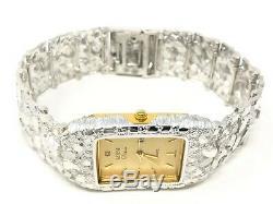 925 Sterling Silver Nugget Wrist Watch Straight Band Geneve Diamond Watch 7-7.5