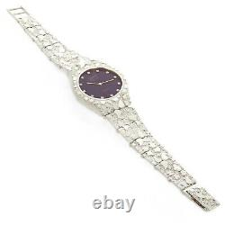 925 Sterling Silver Nugget Wrist Watch with Geneve Diamond Watch 7.5 45 grams