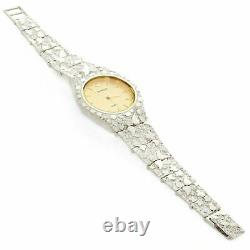 925 Sterling Silver Nugget Wrist Watch with Geneve Watch 7 Graduated Band 42g