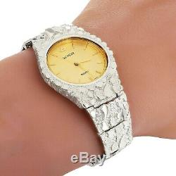 925 Sterling Silver Nugget Wrist Watch with Geneve Watch 8.5 Graduated Band 52g