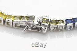 925 Sterling Silver Rainbow MultiColor Princes Sapphire Tennis 7 inch Bracelet