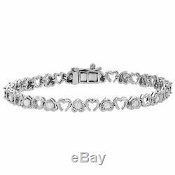 925 Sterling Silver Round Diamond Double Heart Tennis Bracelet 10k White Gold FN