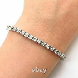 925 Sterling Silver Round Diamond Tennis Link Women's Perfect Bracelet 7 Inch
