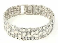 925 Sterling Silver Solid Nugget Bracelet Adjustable 7 21.5mm 44 grams