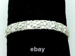 925 Sterling Silver Solid Nugget Bracelet Adjustable Link 8.5 9.25mm 23.8 grams