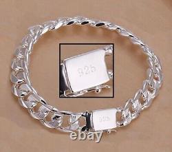 925 Sterling Silver Women's Bracelet 8mm Cuban Curb Link Chain wGiftPkg D454F
