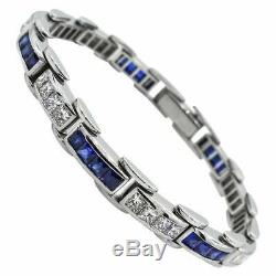 9.10 Carat Princess Diamond & Sapphire Tennis 925 Silver Channel Set Bracelet 8
