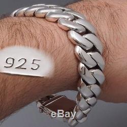 9 173g HEAVY CHUNKY BIKER CURB CHAIN 925 STERLING SILVER MENS BRACELET PRE