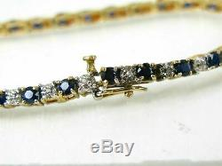 9 Ct Blue Sapphire & Diamond Tennis Perfect Bracelet 7.25 14k Yellow Gold Over