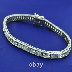 9 Ct Princess D/VVS1 Diamond 14k White Gold Over Sterling 7.50 Tennis Bracelet