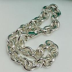 9 Large Tiffany & Co Sterling Silver Mens Unisex Rolo Round Link Chain Bracelet