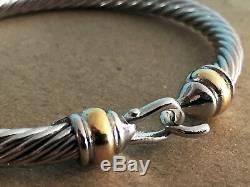 AUTH David Yurman Hinge Cable Buckle Bracelet 750 18K gold 925 Sterling Silver