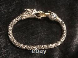 AUTH John Hardy Sterling Silver and 18k Yellow Gold Naga Dragon Bracelet 7.5