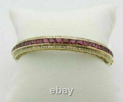 Antique 14k Yellow Gold Over 2.50Ct Ruby & Round Diamond Bangle 7.25 Bracelet