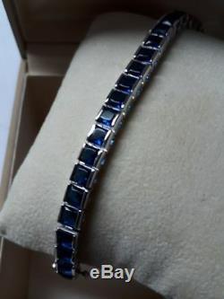 Antique $3000 6ct Princess Blue Sapphire 14k White Gold Over 7 Tennis Bracelet