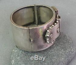 Antique Victorian Sterling Silver Buckle Bangle Bracelet HW Birmingham England
