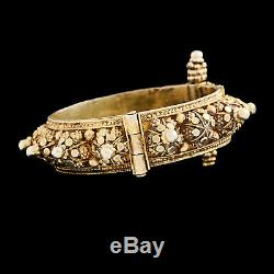 Antique Vintage Art Nouveau Sterling Silver Mughal Wedding Rose Diamond Bracelet