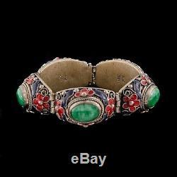 Antique Vintage Deco Sterling Silver Chinese Imperial Jade Jadeite Bracelet