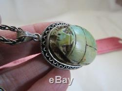 Antique Vintage Egyptian Revival Scarab Sterling Silver Green Pendant Bracelet