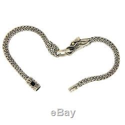 Auth JOHN HARDY STerling Silver 18K Gold Naga Dragon Bracelet Size 7 ED37
