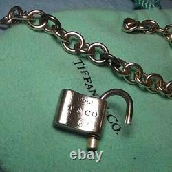 Auth Tiffany & Co. 1837 Lock Charm Bracelet Silver 925 Bangle DHL