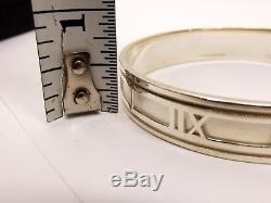 Auth Tiffany & Co Sterling Silver ATLAS Bangle Bracelet + Box T&CO 1995